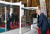 King Philippe Filip of Belgium visits the exhibition on science and culture 'Science et culture au Palais' at the Royal Palace in Brussels on July 20...