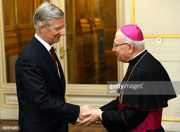 King Philippe Filip of Belgium welcomes Giacinto Berloco Apostolic Nuncio to Belgium during the New Year's reception organised by the Royal Family...