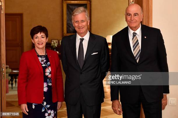 King Philippe Filip of Belgium welcomes NewZealand general governor Patsy Reddy and her David Gascoigne prior to a meeting at the Royal Palace in...