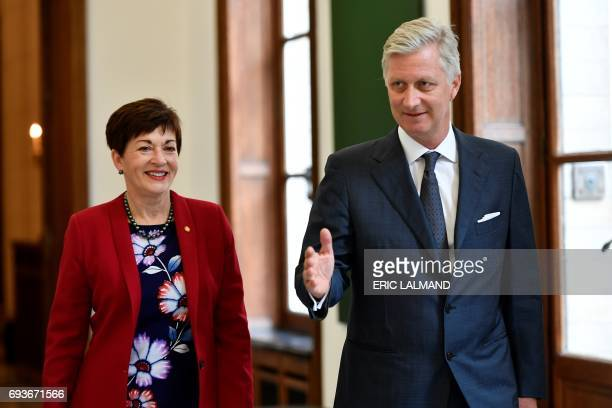King Philippe Filip of Belgium welcomes NewZealand general governor Patsy Reddy prior to a meeting at the Royal Palace in Brussels on June 8 2017 /...