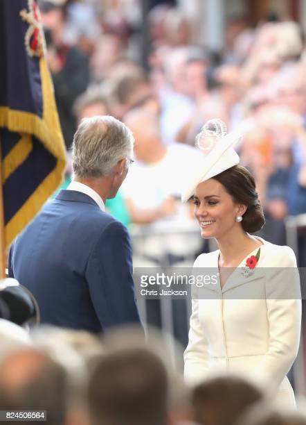 King Philippe of Belgium and Catherine Duchess of Cambridge attend the Last Post ceremony which has taken place every night since 1928 at the...
