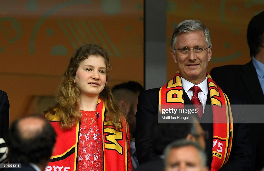 King Philippe of Belgium (R) and his daughter Princess Elisabeth (L) are seen in the stand prior to the UEFA EURO 2016 quarter final match between Wales and Belgium at Stade Pierre-Mauroy on July 1, 2016 in Lille, France.