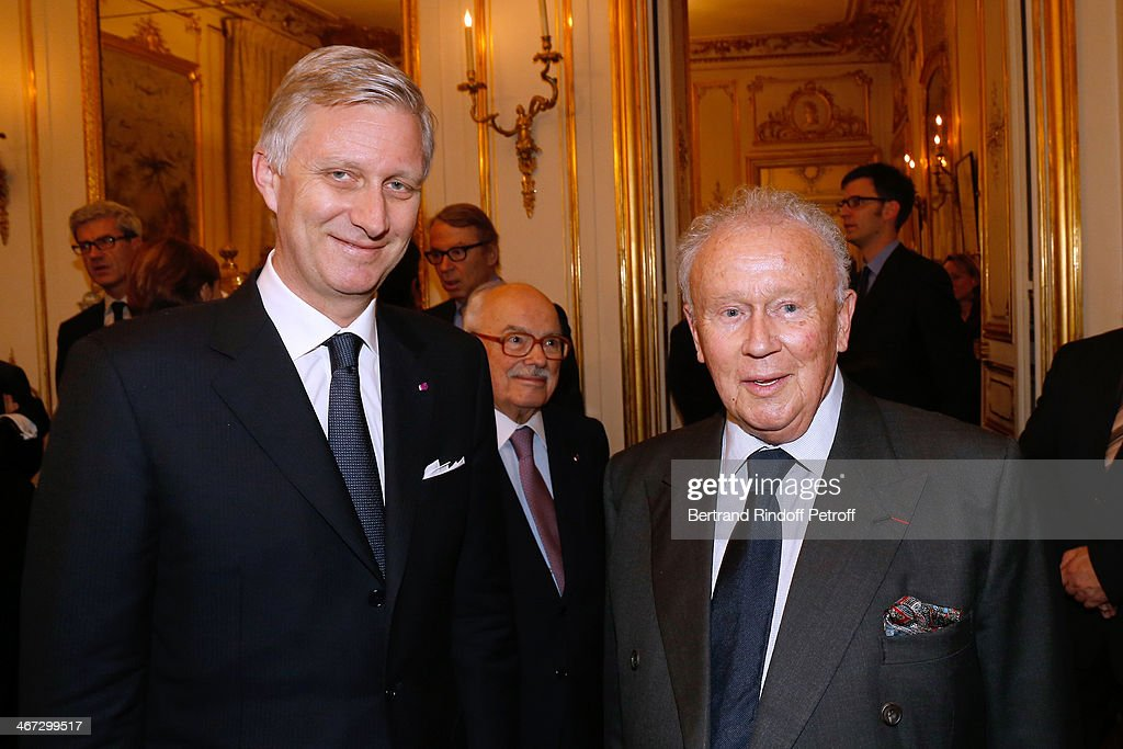 King Philippe of Belgium and Philippe Bouvard attend the King Philippe of Belgium and Queen Mathilde Of Belgium's visit to the Residence of the Ambassador of Belgium during a One Day Official Visit on February 6, 2014 in Paris, France.