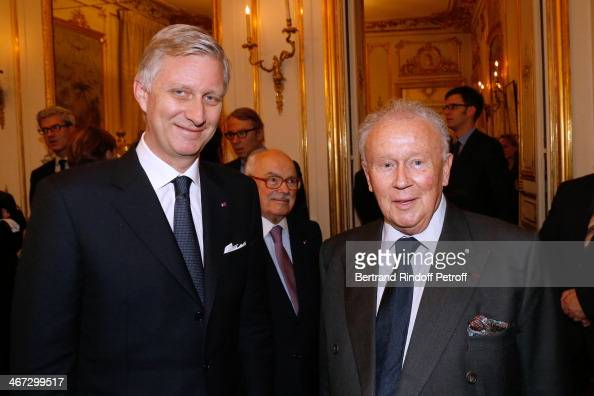 King Philippe of Belgium and Philippe Bouvard attend the King Philippe of Belgium and Queen Mathilde Of Belgium's visit to the Residence of the...