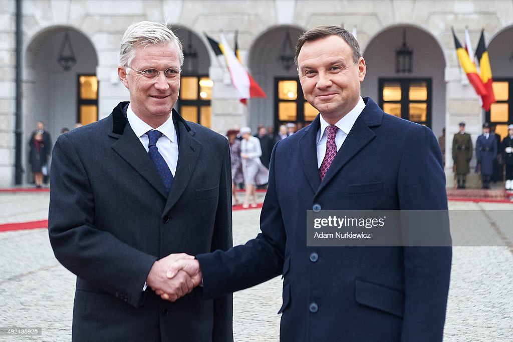 King Philippe of Belgium and Polish President <a gi-track='captionPersonalityLinkClicked' href=/galleries/search?phrase=Andrzej+Duda&family=editorial&specificpeople=4331018 ng-click='$event.stopPropagation()'>Andrzej Duda</a> attend the welcoming ceremony at the Presidential Palace as part of official Royal visit in Poland on October 13, 2015 in Warsaw, Poland.