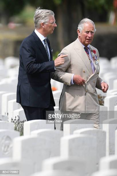 King Philippe of Belgium and Prince Charles Prince of Wales arrive at the Commonwealth War Graves Commisions's Tyne Cot Cemetery ahead of a ceremony...