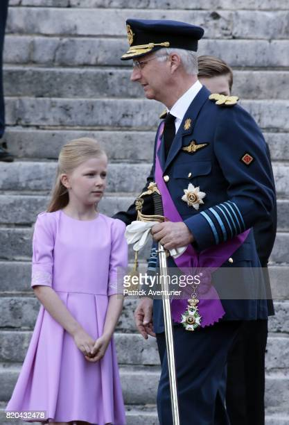 King Philippe of Belgium and Princess Eleonore of Belgium attend the Te Deum mass on the occasion of the Belgian National Day in the Cathedral on...