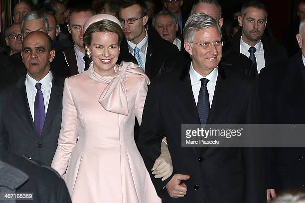 King Philippe of Belgium and Queen Mathilde Of Belgium arrive at 'Gare du Nord' railway station on a one day official visit on February 6 2014 in...
