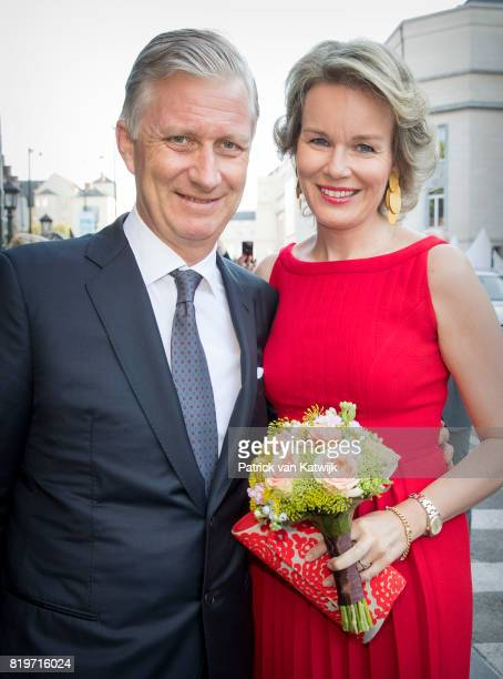 King Philippe of Belgium and Queen Mathilde of Belgium arrive at Bozar the Centre for Fine Arts to attend the concert the evening before the Belgian...
