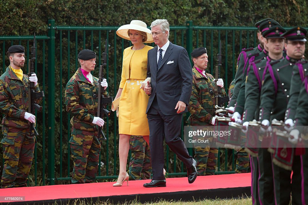 King Philippe of Belgium and Queen Mathilde of Belgium arrive to attend the official Belgian federal government ceremony to commemorate the...
