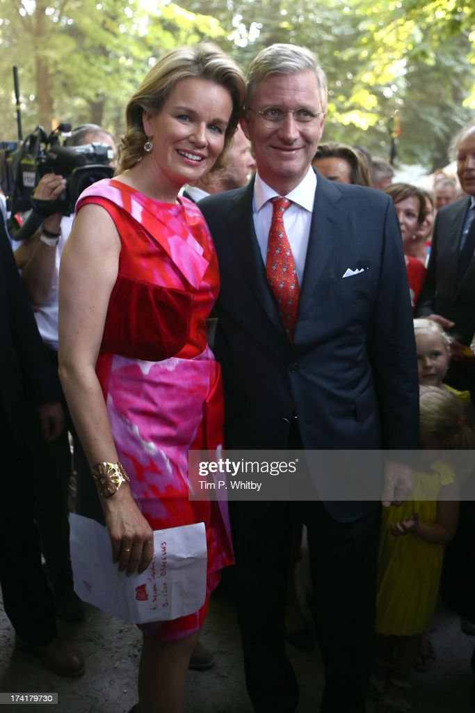 King Philippe of Belgium and Queen Mathilde of Belgium attend the celebrations in the Park during the Abdication Of King Albert II Of Belgium, & Inauguration Of King Philippe on July 21, 2013 in Brussels, Belgium.