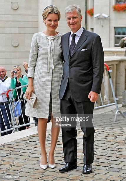 King Philippe of Belgium and Queen Mathilde of Belgium attend the special mass held for the 20th anniversary of the death of King Baudouin on July 31...