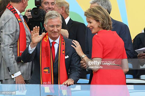 King Philippe of Belgium and Queen Mathilde of Belgium attend the 2014 FIFA World Cup Brazil Group H match between Belgium and Russia at Maracana on...