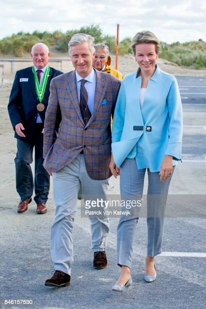 King Philippe of Belgium and Queen Mathilde of Belgium attend the shrimp fishing demonstration of the Orde van de Paardevissers on September 12 2017...