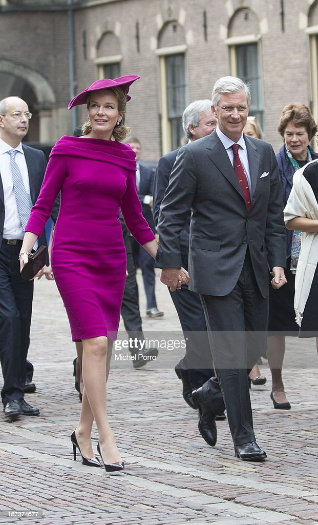 King <a gi-track='captionPersonalityLinkClicked' href=/galleries/search?phrase=Philippe+of+Belgium&family=editorial&specificpeople=160209 ng-click='$event.stopPropagation()'>Philippe of Belgium</a> and <a gi-track='captionPersonalityLinkClicked' href=/galleries/search?phrase=Queen+Mathilde+of+Belgium&family=editorial&specificpeople=239189 ng-click='$event.stopPropagation()'>Queen Mathilde of Belgium</a> during an official visit to The Netherlands on November 8, 2013 in The Hague, Netherlands.