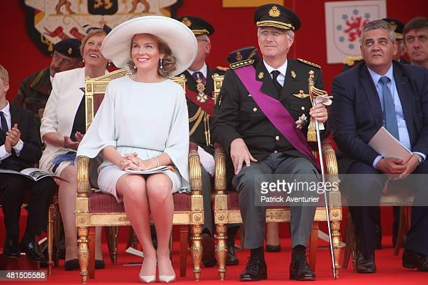 King Philippe of Belgium and Queen Mathilde of Belgium during the military parade on the Belgian National Day on July 21 2015 in Brussel Belgium