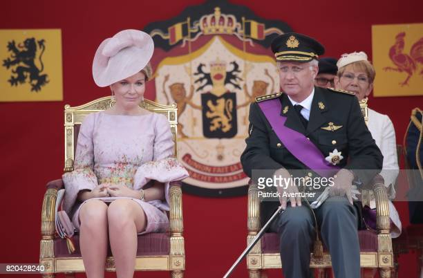 King Philippe of Belgium and Queen Mathilde of Belgium during the military parade on the Belgian National Day on July 21 2017 in Brussels Belgium