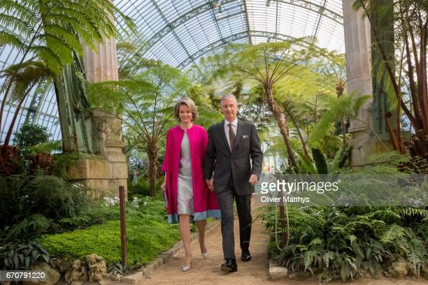 King Philippe of Belgium and Queen Mathilde of Belgium invite Diplomats in the Royal Greenhouses of Laeken on April 20 2017 in Brussels Belgium