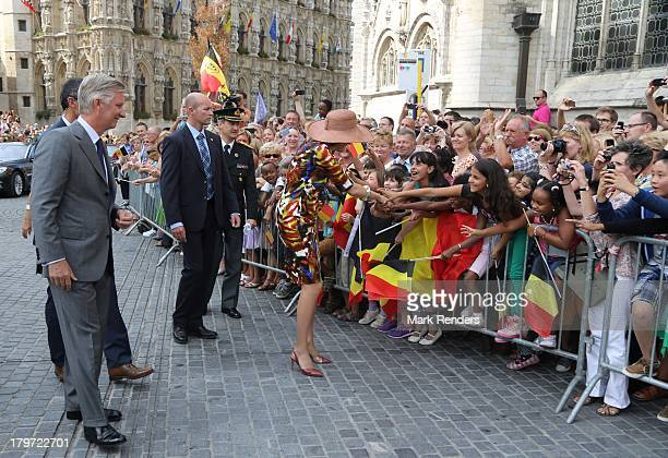 King Philippe of Belgium and Queen Mathilde of Belgium make their first visit to the city known as the 'Joyous Entry' on September 6 2013 in Leuven...