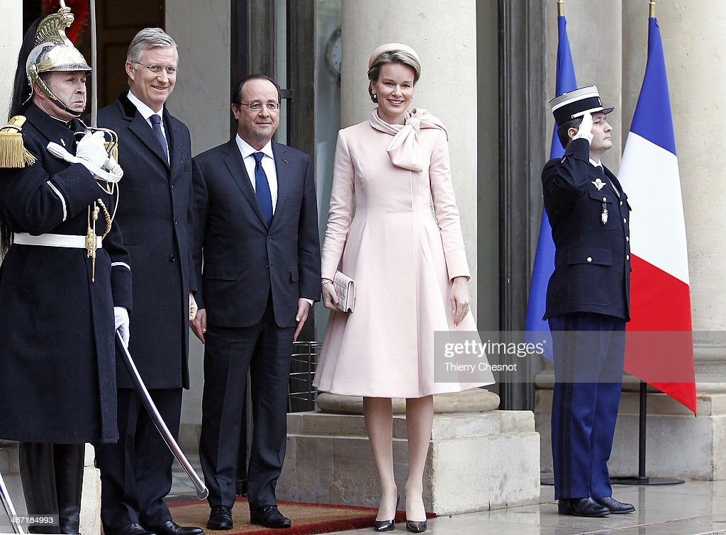 King Philippe of Belgium and <a gi-track='captionPersonalityLinkClicked' href=/galleries/search?phrase=Queen+Mathilde+of+Belgium&family=editorial&specificpeople=239189 ng-click='$event.stopPropagation()'>Queen Mathilde of Belgium</a> meet French president Francois Hollande during a one day official visit to Paris at the Elysee Palace on Thursday 06 February 2014, in Paris, France.