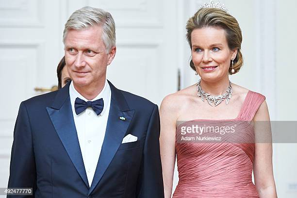 King Philippe of Belgium and Queen Mathilde of Belgium smile while official dinner at Presidential Palace as part of official Royal visit in Poland...