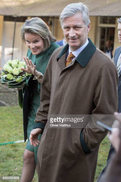 King Philippe of Belgium and Queen Mathilde of Belgium visit TeleService on February 15 2017 in Verviers Belgium