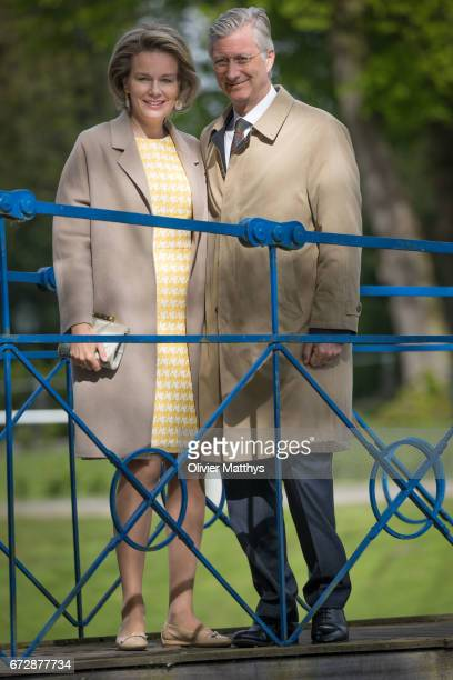 King Philippe of Belgium and Queen Mathilde of Belgium visit the Wissekerke Castle on April 25 2017 in Kruibeke Belgium