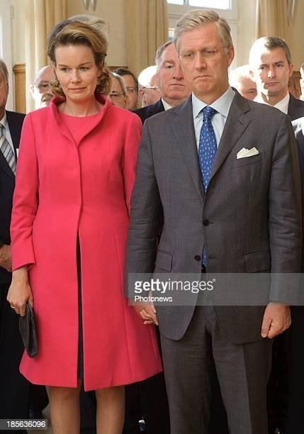 King Philippe of Belgium and Queen Mathilde of Belgium visit the German speaking community on October 23 2013 in Eupen Belgium