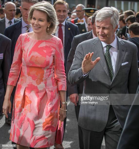 King Philippe of Belgium and Queen Mathilde of Belgium visit the AstyMouli school for wood and construction skills in the Province of Namur on...