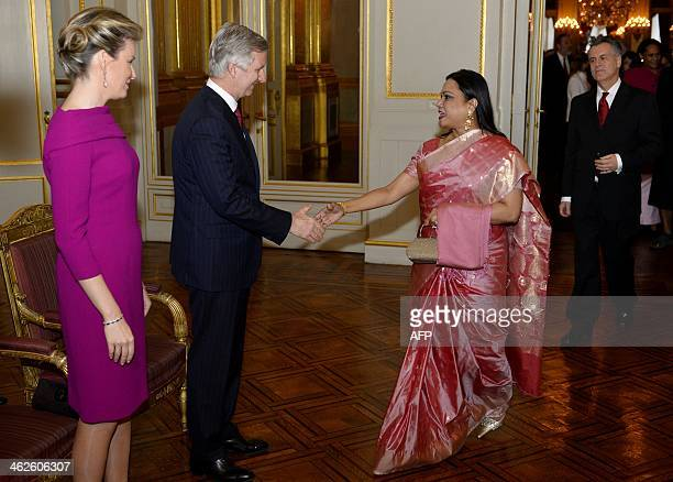 King Philippe of Belgium and Queen Mathilde of Belgium welcome Ismat Jahan Ambassador of Bangladesh during the New Year's reception organised by the...
