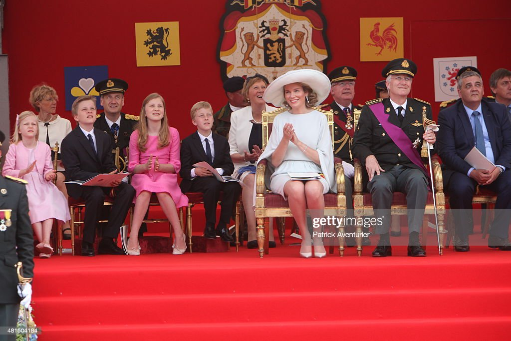 King Philippe of Belgium and Queen Mathilde of Belgium with their children Princess Eleonore Prince Gabriel Crown Princess Elisabeth and Prince...