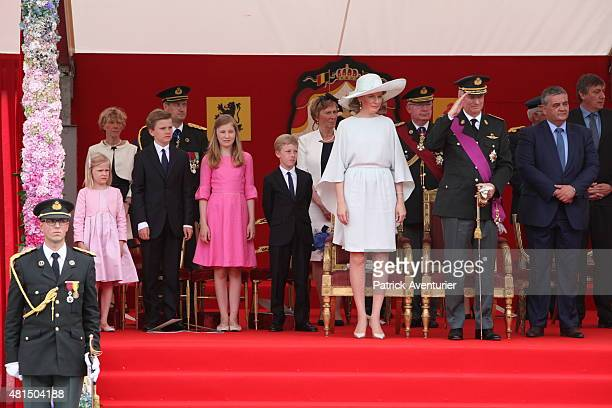 King Philippe of Belgium and Queen Mathilde of Belgium with their children Princess Eleonore Prince Gabriel Crown Princess Elisabeth and Prince...