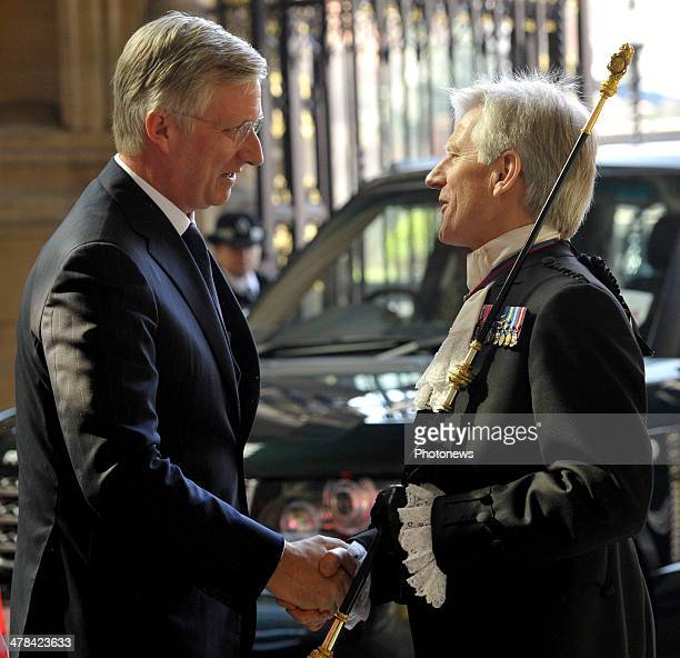 King Philippe of Belgium arrives at Buckingham Palace during an official visit to London on March 13 2014 in London England King Philippe and Queen...