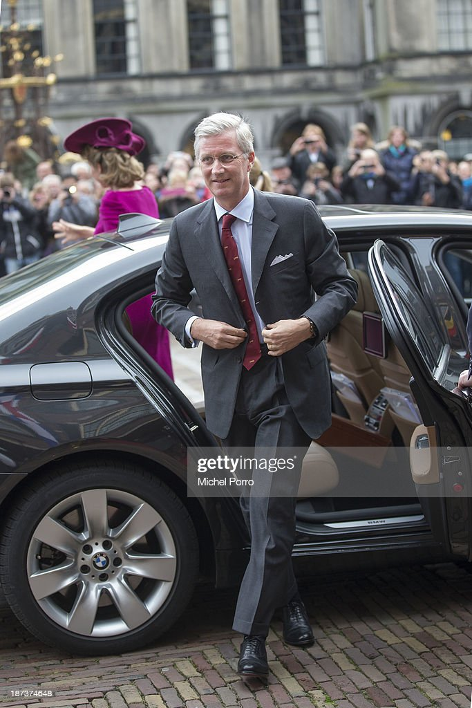 King <a gi-track='captionPersonalityLinkClicked' href=/galleries/search?phrase=Philippe+of+Belgium&family=editorial&specificpeople=160209 ng-click='$event.stopPropagation()'>Philippe of Belgium</a> arrives at Parliament during an official visit to The Netherlands on November 8, 2013 in The Hague, Netherlands.