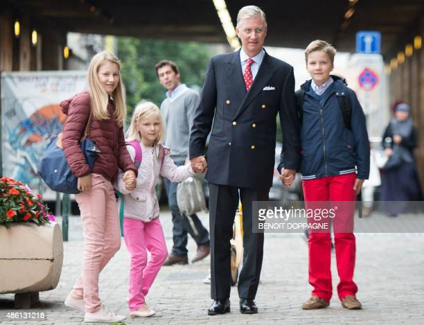King Philippe of Belgium arrives with his children Crown Princess Elisabeth Princess Eleonore and Prince Gabriel for their first day of school at the...
