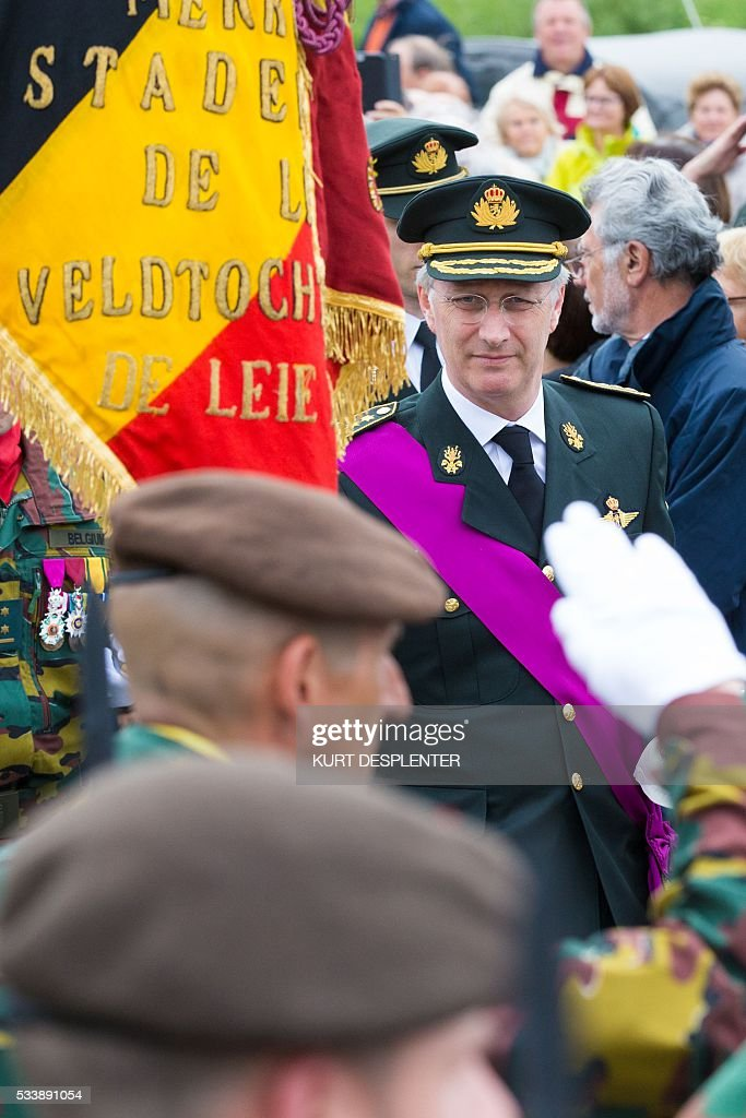 King Philippe of Belgium attends the seventieth commemoration of the Leieslag (Battle of the Lys), in Kuurne, on May 24, 2016. / AFP / Belga / KURT DESPLENTER / Belgium OUT