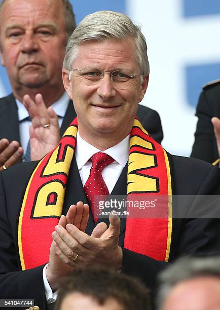 King Philippe of Belgium attends the UEFA EURO 2016 Group E match between Belgium and Republic of Ireland at Stade Matmut Atlantique on June 18 2016...