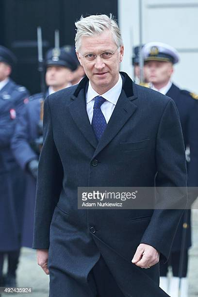 King Philippe of Belgium attends the welcoming ceremony at the Presidential Palace as part of official Royal visit in Poland on October 13 2015 in...