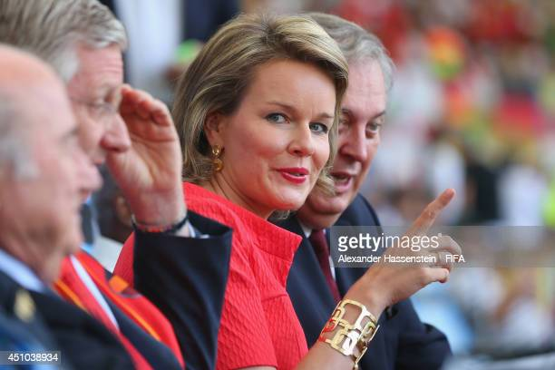 King Philippe of Belgium attends with Queen Mathilde the 2014 FIFA World Cup Brazil Group H match between Belgium and Russia at Maracana on June 22...