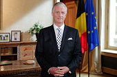 King Philippe Of Belgium Delivers A Speach For Belgium...