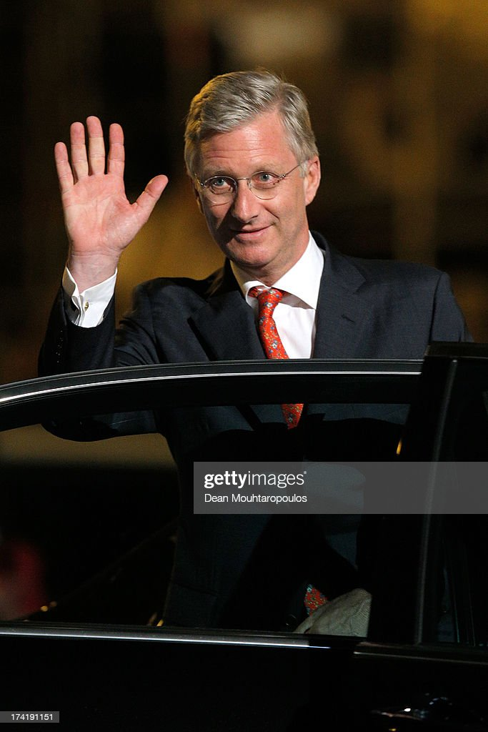 King Philippe of Belgium departs after the fireworks during the Abdication Of King Albert II Of Belgium, & Inauguration Of King Philippe on July 21, 2013 in Brussels, Belgium.