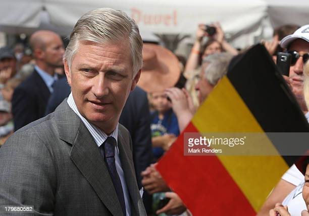 King Philippe of Belgium first visit to the city with Queen Mathilde of Belgium known as the 'Joyous Entry' on September 6 2013 in Leuven Belgium