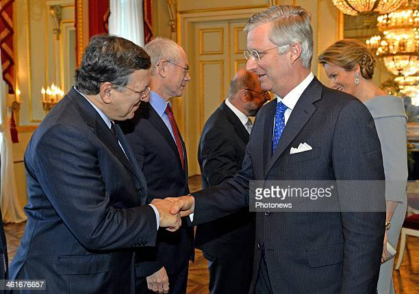 King Philippe of Belgium greets President of the European Commission Jose Manuel Barroso at a reception of the Royal family and sseveral...