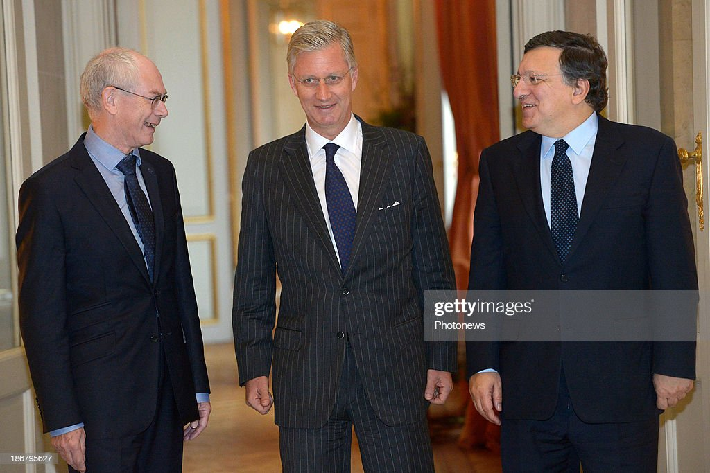 King Philippe of Belgium has lunch with President of the European Council <a gi-track='captionPersonalityLinkClicked' href=/galleries/search?phrase=Herman+Van+Rompuy&family=editorial&specificpeople=4476281 ng-click='$event.stopPropagation()'>Herman Van Rompuy</a> (L) and President of the European Commission Jose Manuel Barroso (R) on November 4, 2013 in Brussels, Belgium.