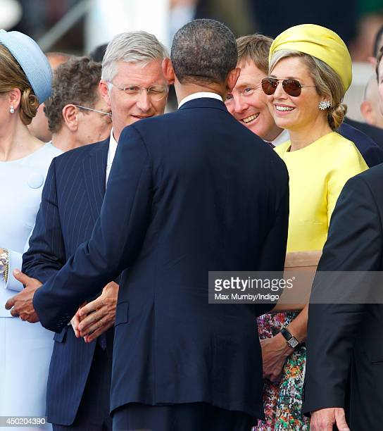King Philippe of Belgium King WillemAlexander of The Netherlands and Queen Maxima of The Netherlands talk with US President Barack Obama as they...