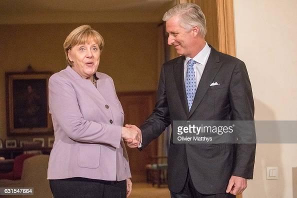 King Philippe of Belgium meets German Chancellor Angela Merkel on January 12 2017 in Brussels Belgium