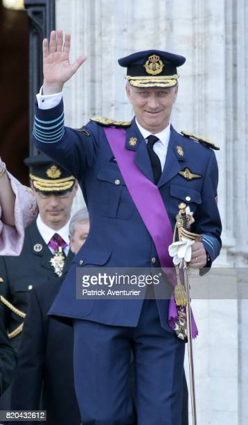King Philippe of Belgium of Belgium attends the Te Deum mass on the occasion of the Belgian National Day in the Cathedral on July 21 2017 in Brussels...