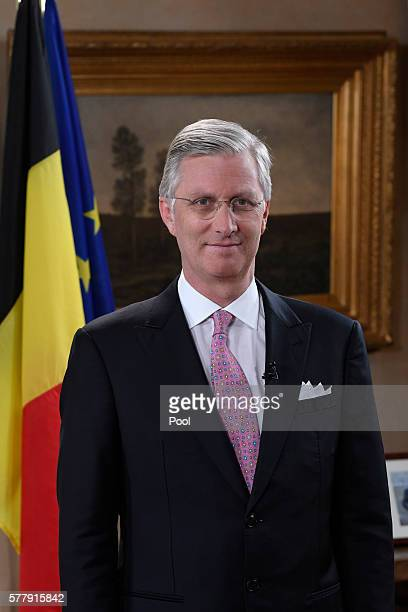 King Philippe of Belgium poses at the recording of his annual speech to mark Belgian National Day at the Royal Palace on July 15 in Brussels Belgium