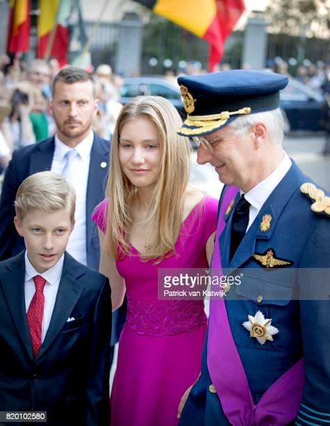 King Philippe of Belgium Princess Elisabeth of Belgium and Prince Emmanuel of Belgium attends the Te Deum mass on the occasion of the Belgian...