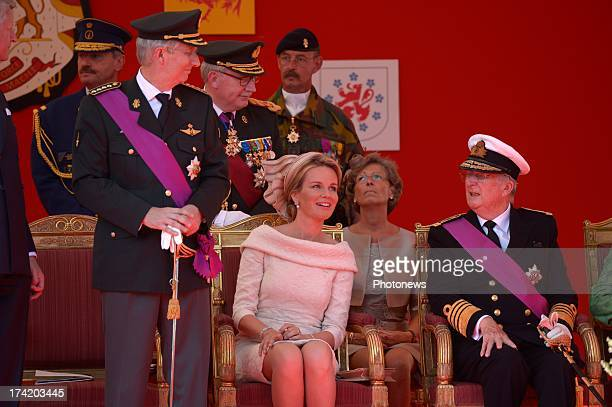 King Philippe of Belgium Queen Mathilde of Belgium and King Albert II of Belgium pictured during the Military Parade during the Abdication Of King...